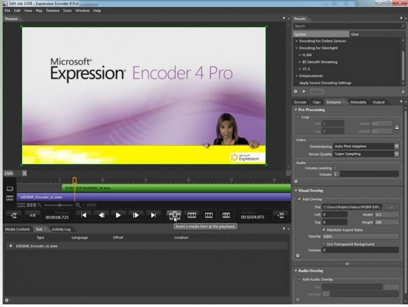 Pantallazo Microsoft Expression Encoder Pro