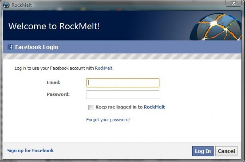 Pantallazo RockMelt