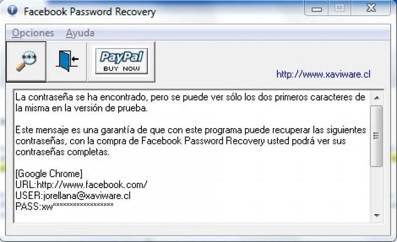 Pantallazo Facebook Password Recovery