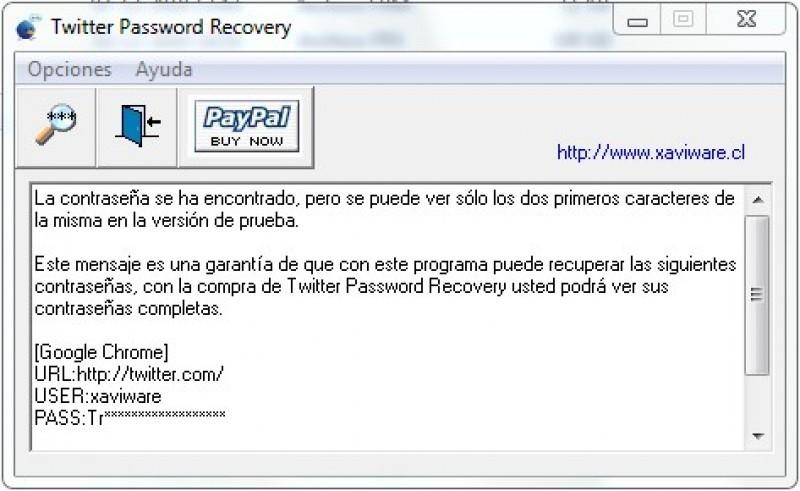 Pantallazo Twitter Password Recovery