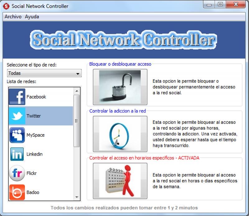 Pantallazo Social Network Controller