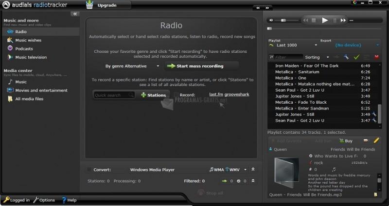Pantallazo Audials Radiotracker