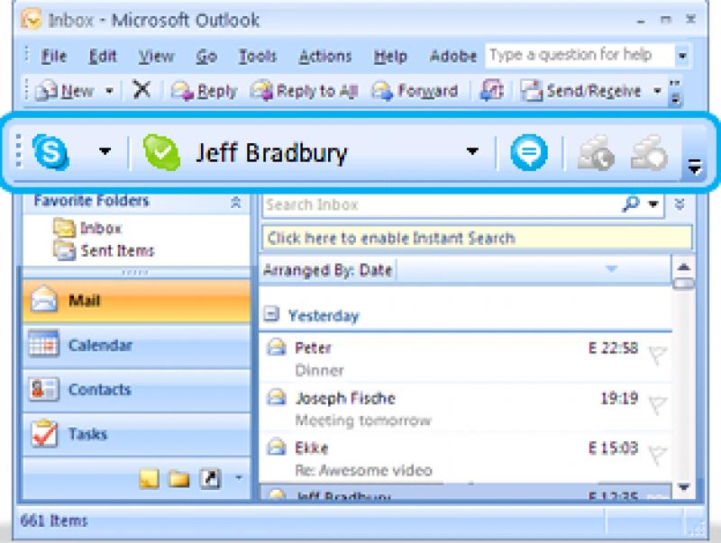 Pantallazo Skype Email Toolbar