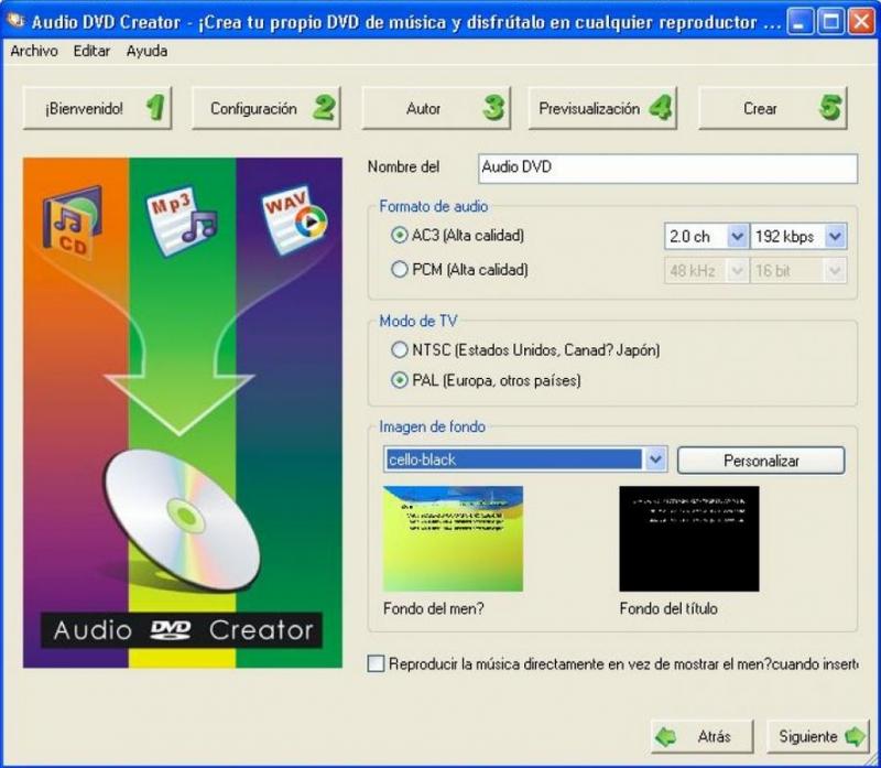 Pantallazo Audio DVD Creator