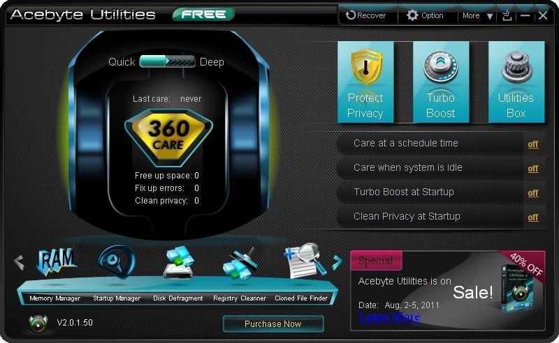 Pantallazo Acebyte Utilities Free