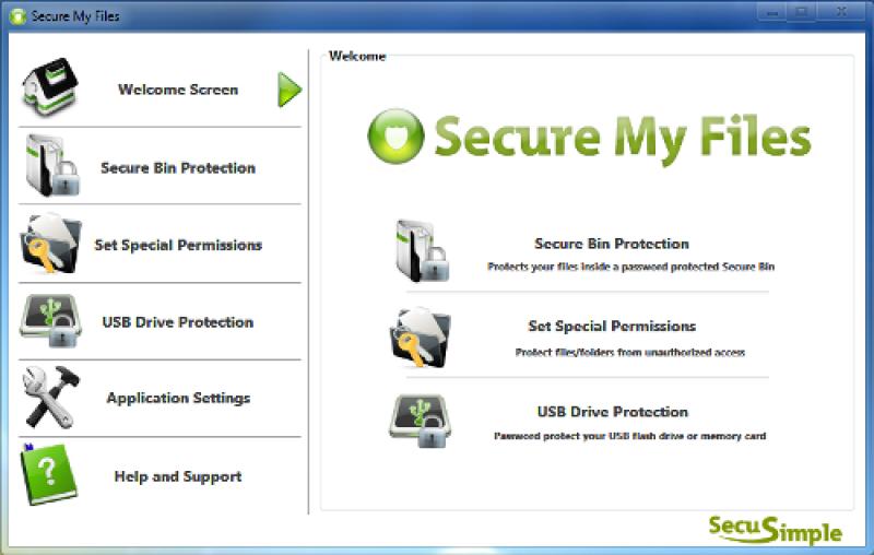 Pantallazo Secure My Files