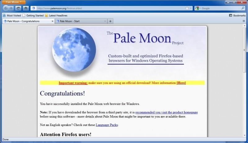 Pantallazo Pale Moon