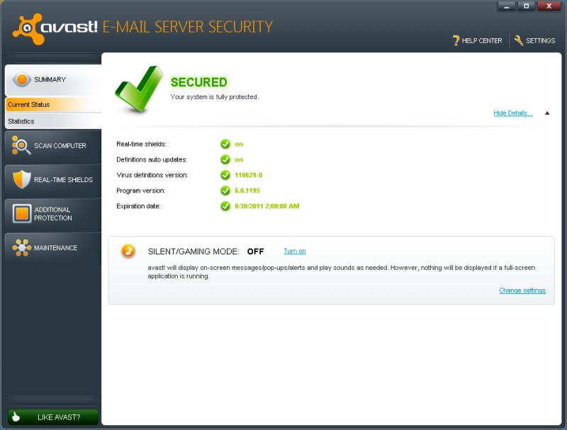 Pantallazo Avast Email Server Security