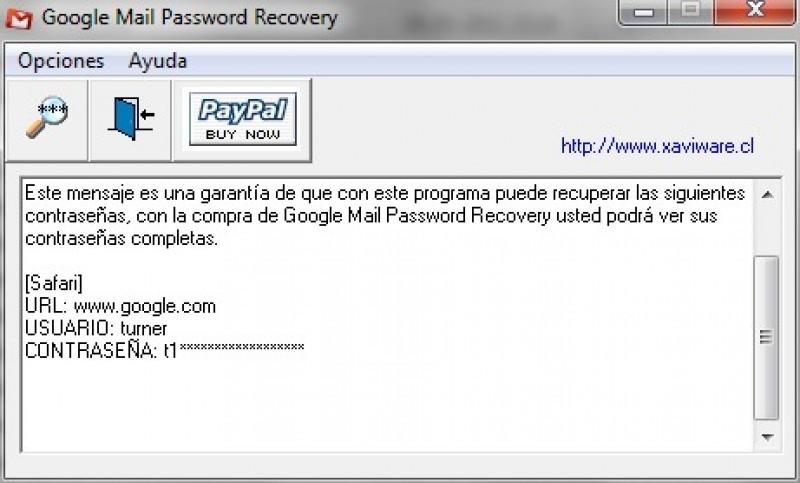 Pantallazo Google Mail Password Recovery