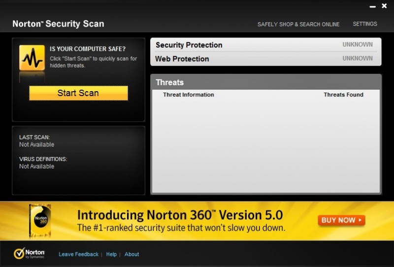 Pantallazo Norton Security Scan