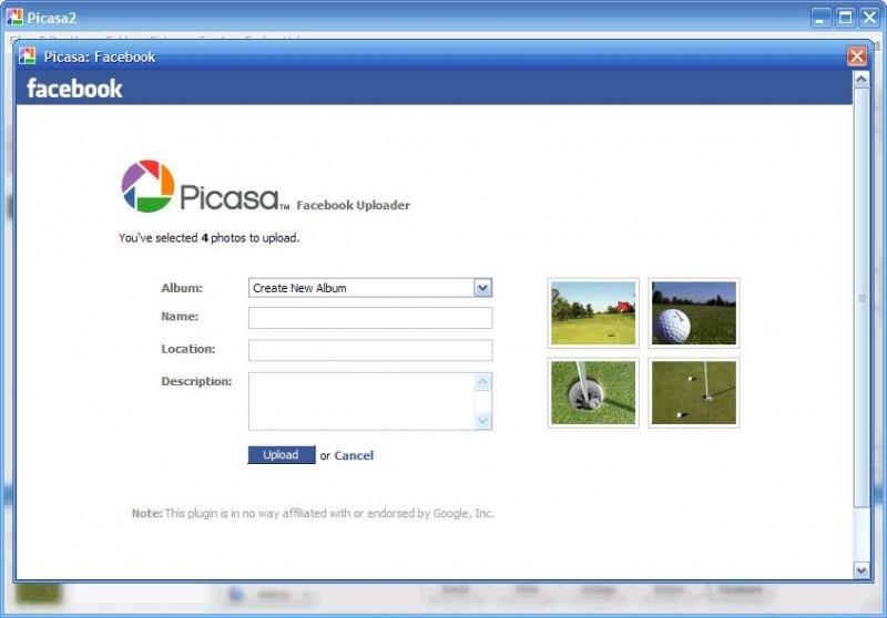 Pantallazo Picasa Facebook Uploader