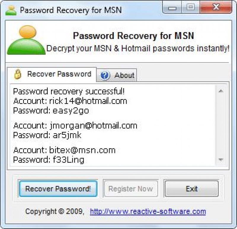 Pantallazo MSN Password Cracker