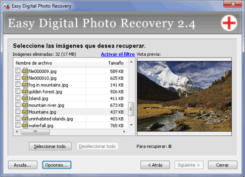 Pantallazo Data Recovery Suite
