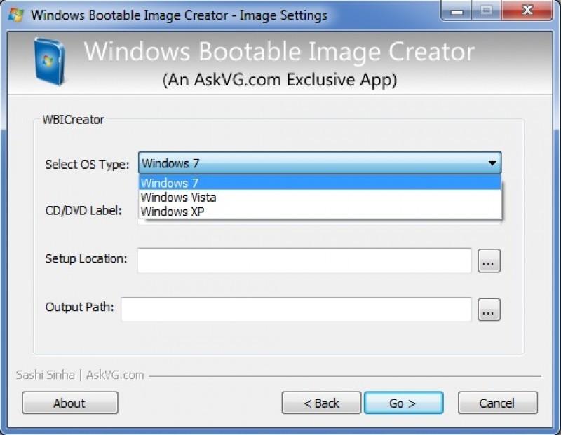 Pantallazo Windows Bootable Image Creator