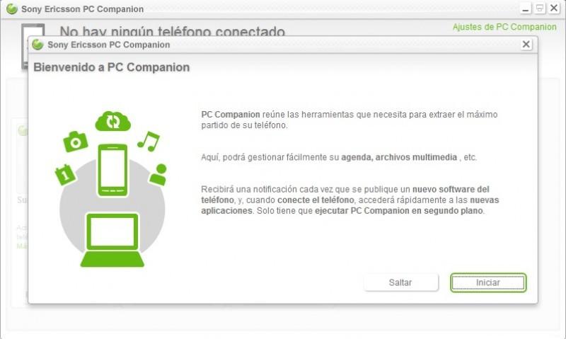 Pantallazo Sony Ericsson PC Companion
