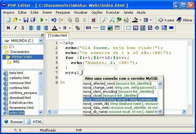 Pantallazo PHP Editor