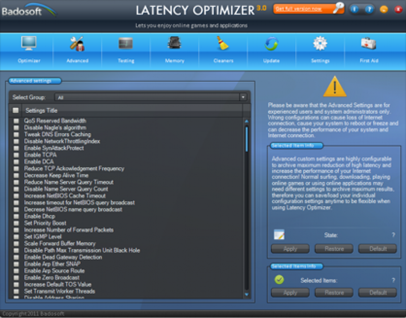 Pantallazo Latency Optimizer
