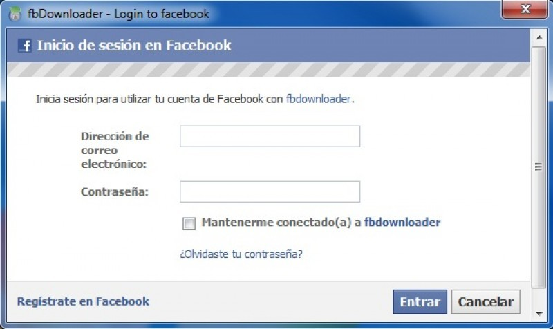 Pantallazo FB Downloader