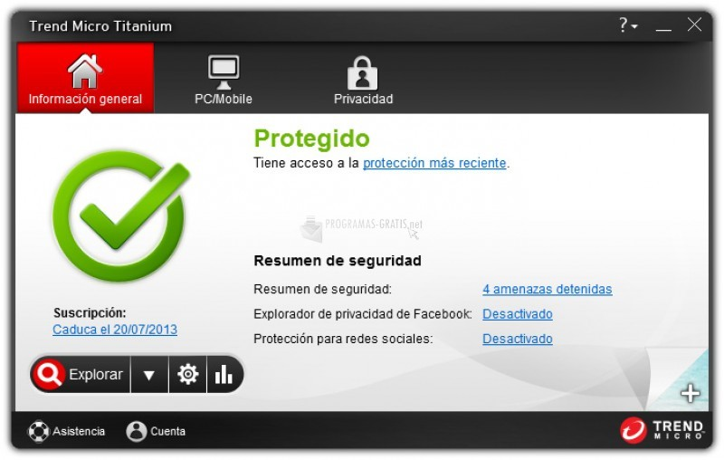 Pantallazo Trend Micro Titanium Internet Security