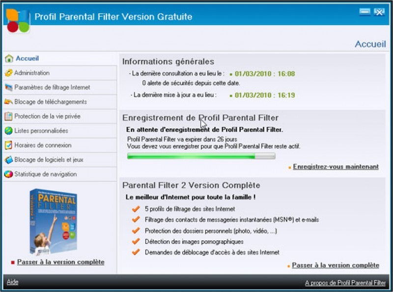 Pantallazo Profil Parental Filter Free