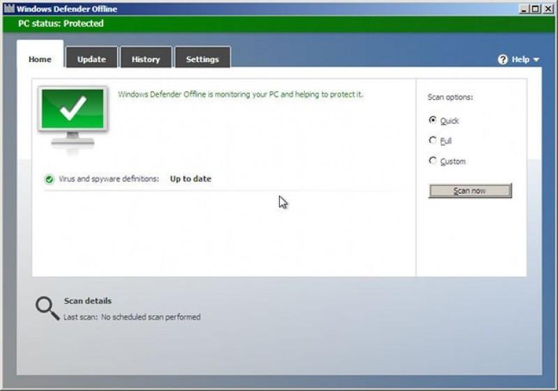 Pantallazo Windows Defender Offline