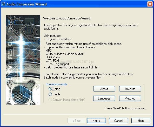 Pantallazo Audio Conversion Wizard