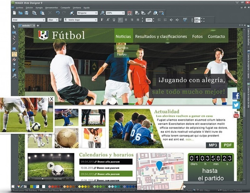 Pantallazo Magix Web Designer