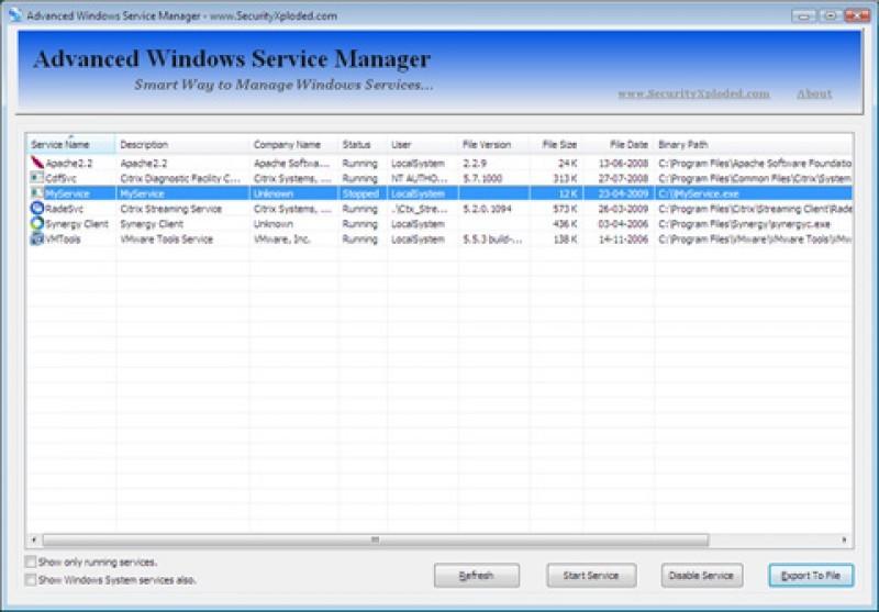 Pantallazo Advanced WinService Manager
