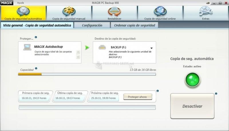 Pantallazo Magix PC Backup