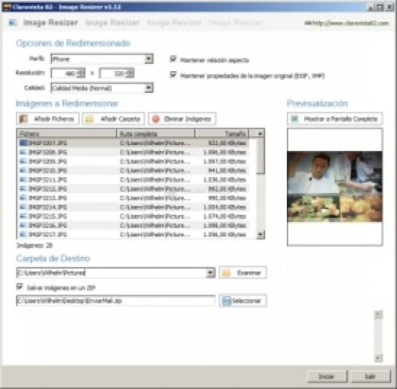 Pantallazo Yursoft Image Resizer