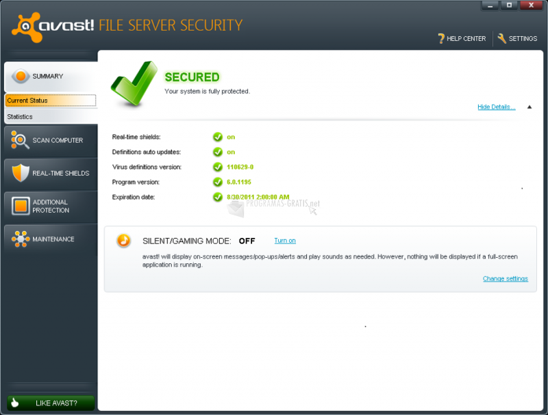 Pantallazo Avast! File Server Security
