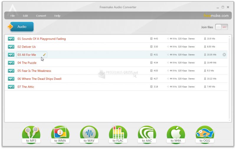 Pantallazo Freemake Audio Converter