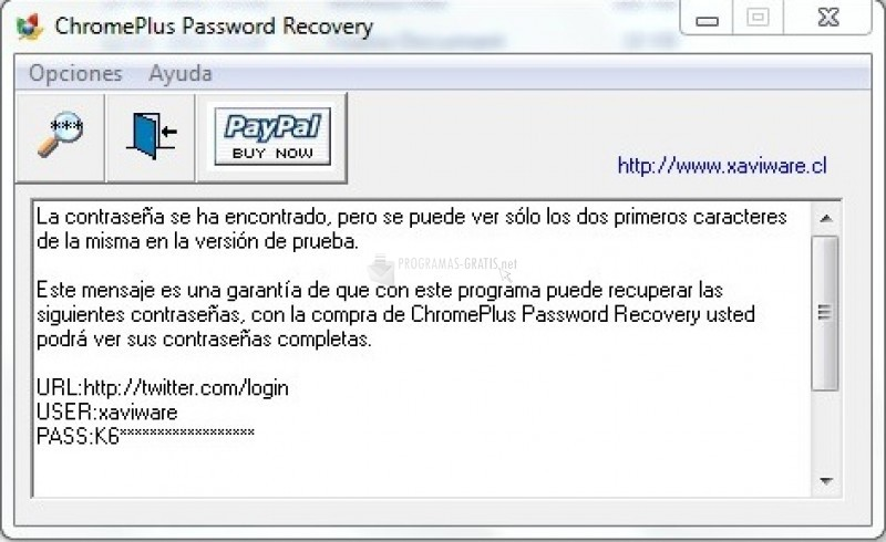 Pantallazo ChromePlus Password Recovery