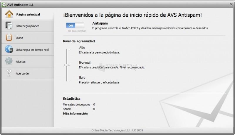 Pantallazo AVS Antispam