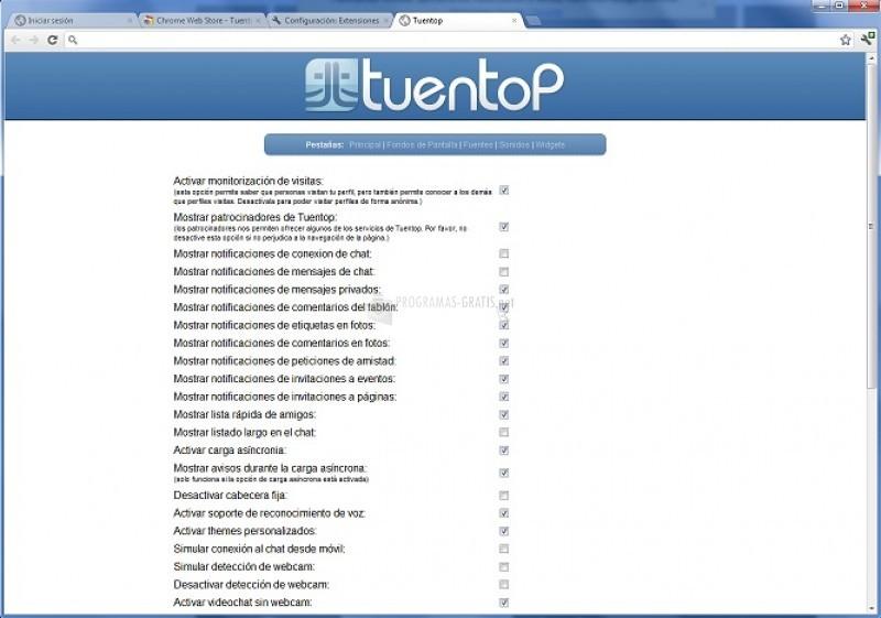 Pantallazo Tuentop Chrome