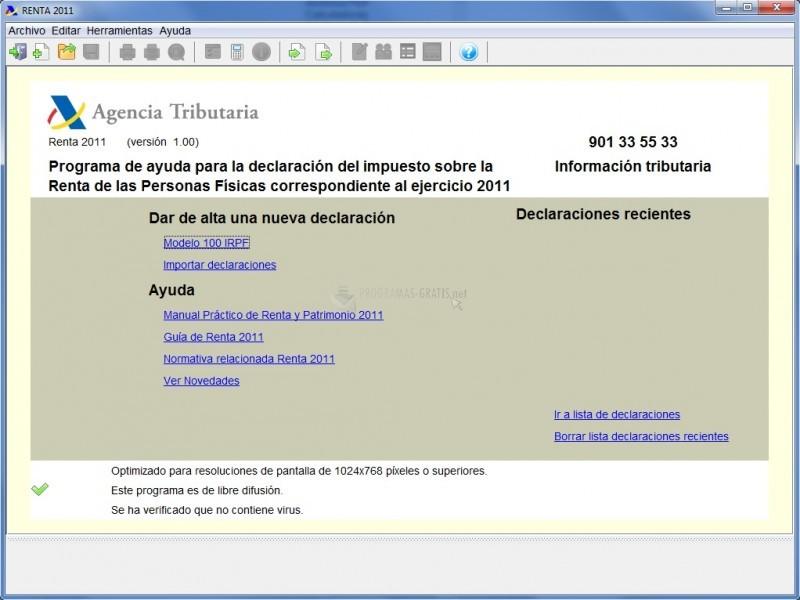 Pantallazo Renta 2011 (Programa PADRE)