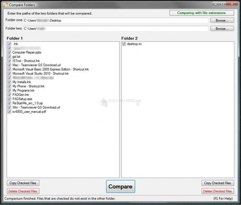 Pantallazo Compare Folders