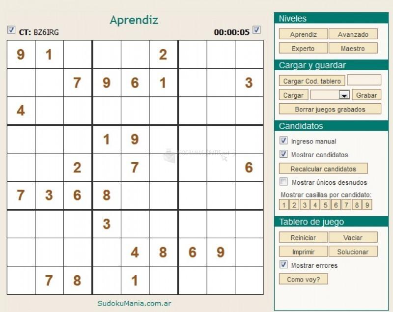 Pantallazo SudokuMania