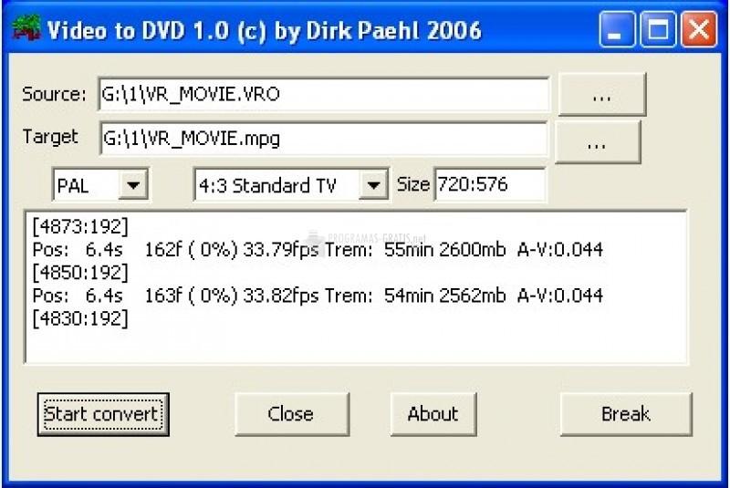 Pantallazo Video to DVD