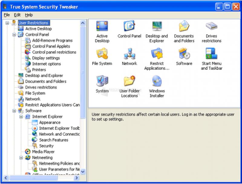 Pantallazo True System Security Tweaker