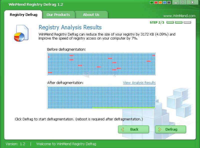 Pantallazo WinMend Registry Defrag