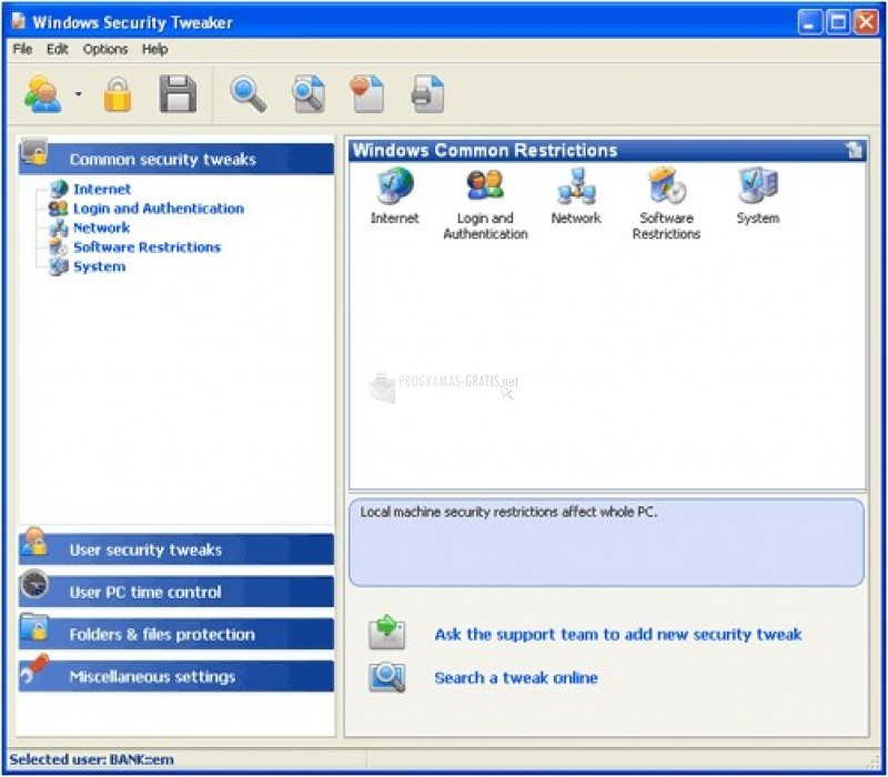 Pantallazo Windows Security Tweaker