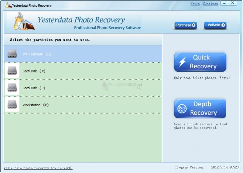 Pantallazo YesterData Photo Recovery