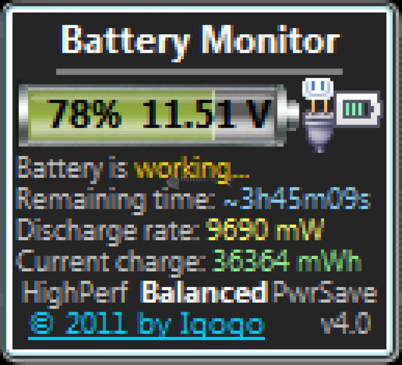 Pantallazo Battery Monitor