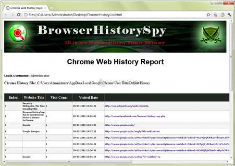 Pantallazo Browser History Spy