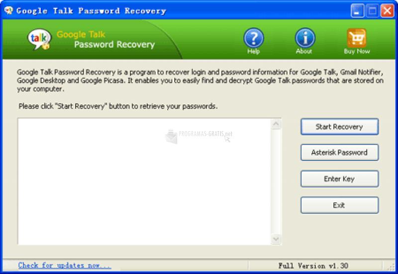 Pantallazo Google Talk Password Recovery