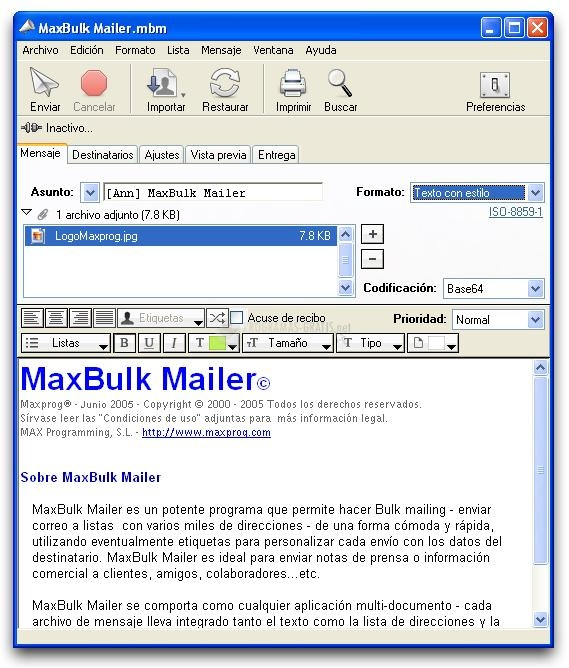 Pantallazo MaxBulk Mailer