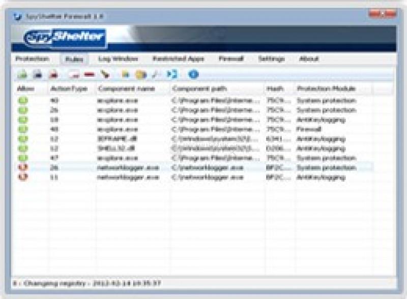 Pantallazo SpyShelter Firewall