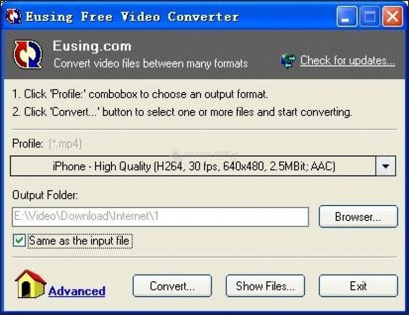 Pantallazo Eusing Free Video Converter