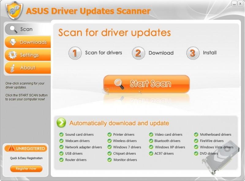 Pantallazo Asus Driver Updates Scanner